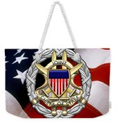 Joint Chiefs Of Staff - J C S Identification Badge Over U. S. Flag Weekender Tote Bag