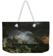 Joseph Vernet   A Shipwreck In Stormy Seas Weekender Tote Bag