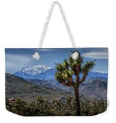 Joshua Tree In Joshua Park National Park With The Little San Bernardino Mountains In The Background Weekender Tote Bag