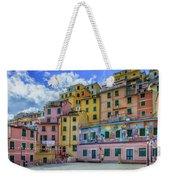 Joy In Colorful House In Piazza Di Riomaggiore, Cinque Terre, Italy Weekender Tote Bag