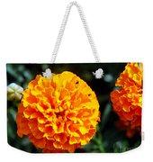 Joyful Orange Floral Lace Weekender Tote Bag