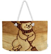 Joyful Snowman  Coffee Paintings Weekender Tote Bag by Georgeta  Blanaru
