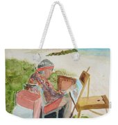 Julia Painting At Boynton Inlet Beach  Weekender Tote Bag