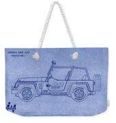 Jurassic Park Jeep Blueprint Weekender Tote Bag