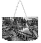 Just Before Sunset B W Reedy River Falls Park Greenville South Carolina Art Weekender Tote Bag