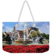 Kansas City Fountain Ablaze In Crimson Weekender Tote Bag