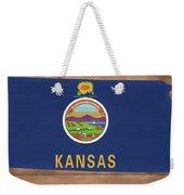 Kansas Rustic Map On Wood Weekender Tote Bag