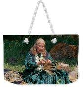 Kashia Pomo Woman Weaving Basket Weekender Tote Bag