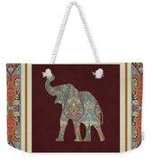 Kashmir Elephants - Vintage Style Patterned Tribal Boho Chic Art Weekender Tote Bag