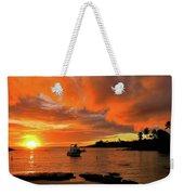 Kauai Sunset And Boat At Anchor Weekender Tote Bag