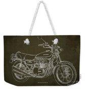 Kawasaki Motorcycle Blueprint, Mid Century Brown Art Print Weekender Tote Bag