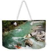 Kayaker Shooting The Cold Emerald Green Alpine Water Of The Uppe Weekender Tote Bag