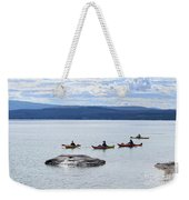 Kayakers Paddle To Fishing Cone On Yellowstone Lake Weekender Tote Bag