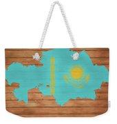 Kazakhstan Rustic Map On Wood Weekender Tote Bag