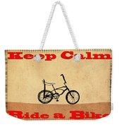 Keep Calm Ride A Bike Weekender Tote Bag