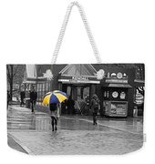 Kendall Square Rainy Day Cambridge Ma Blue And Yellow Weekender Tote Bag