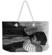 Kid Drinking From The Fountain Weekender Tote Bag