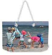 Kid's Yoga Class On Wingaersheek Beach Weekender Tote Bag