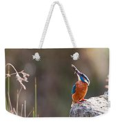 Kingfisher With Fish Weekender Tote Bag