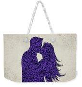 Kissing Couple Silhouette Ultraviolet Weekender Tote Bag