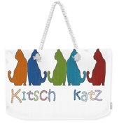 Kitsch Cats Silhouette Cat Collage Pattern Isolated Weekender Tote Bag