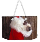 Kitten In Stocking Weekender Tote Bag by Garry Gay