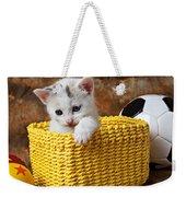 Kitten In Yellow Basket Weekender Tote Bag by Garry Gay