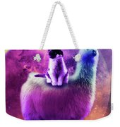 Kitty Cat Riding On Rainbow Llama In Space Weekender Tote Bag