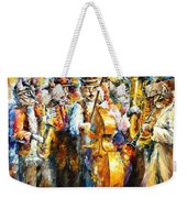 Klezmer Cats - Palette Knife Oil Painting On Canvas By Leonid Afremov Weekender Tote Bag
