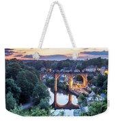 Knaresborough Viaduct Floodlit At Dusk Weekender Tote Bag