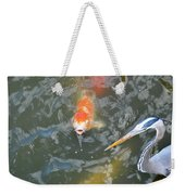 Koi And Great Blue Heron Weekender Tote Bag