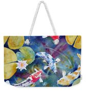 Koi And Waterlily Flower Weekender Tote Bag