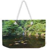 Koi Fish In Waterfall Pond At Japanese Garden Weekender Tote Bag