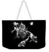 Koi With Honeysuckle Reflections In Black And White Weekender Tote Bag