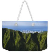 Koolau Mountains And Honolulu Weekender Tote Bag