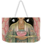 Kuan Yin Pink Lotus Heart Weekender Tote Bag