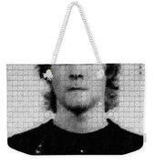 Kurt Cobain Painting Mug Shot Vertical Black And Gray Grey Unique Dot Pattern Weekender Tote Bag