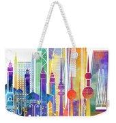 Kuwait City Landmarks Watercolor Poster Weekender Tote Bag