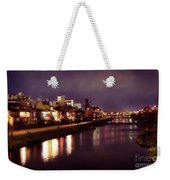 Kyoto Nighttime City Scenery Of Kamo River With Street Lights Re Weekender Tote Bag