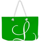 L In White Simple Script Weekender Tote Bag