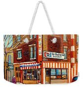 La Quebecoise Restaurant Deli Weekender Tote Bag by Carole Spandau