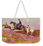 Lady Currie With Her Sons Bill And Hamish Hunting On Exmoor  Weekender Tote Bag