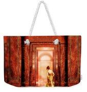 Lady In Golden Gown Walking Through Doorway Weekender Tote Bag