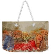 Lady In The Leaves 1 Weekender Tote Bag