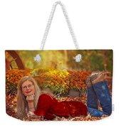 Lady In The Leaves Weekender Tote Bag