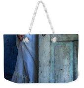 Lady In Vintage Clothing Hiding Behind Old Door Weekender Tote Bag by Jill Battaglia