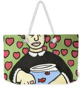 Lady With Fish Bowl Weekender Tote Bag
