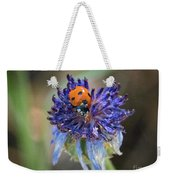 Ladybug On Purple Flower Weekender Tote Bag