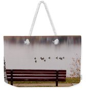 Lake Bench Weekender Tote Bag