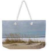 Lake Erie Ice Blanket With Sand Dunes And Dry Grass Weekender Tote Bag